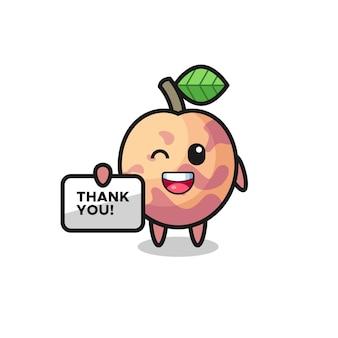 La mascotte del frutto pluot con in mano uno striscione che dice grazie, design in stile carino per maglietta, adesivo, elemento logo