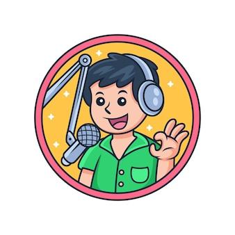 Fumetto icona podcast mascotte. illustrazione dell'icona di vettore di trasmissione, isolata sul vettore premium
