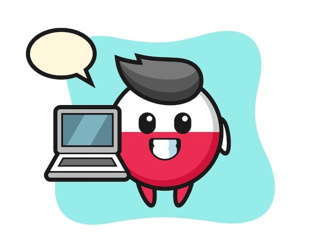 Distintivo della bandiera della polonia della mascotte con un computer portatile