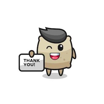 La mascotte del sacco con in mano uno striscione che dice grazie, design in stile carino per maglietta, adesivo, elemento logo