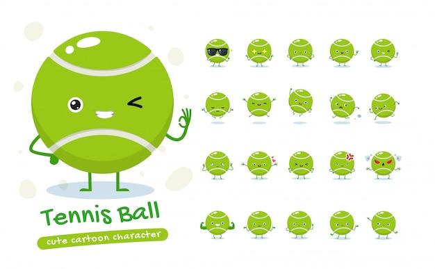 Set mascotte della pallina da tennis. venti pose della mascotte. illustrazione isolata