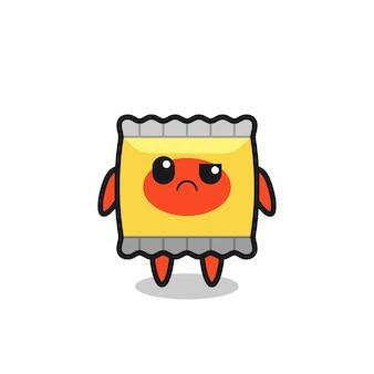La mascotte della merenda con faccia scettica, design in stile carino per maglietta, adesivo, elemento logo
