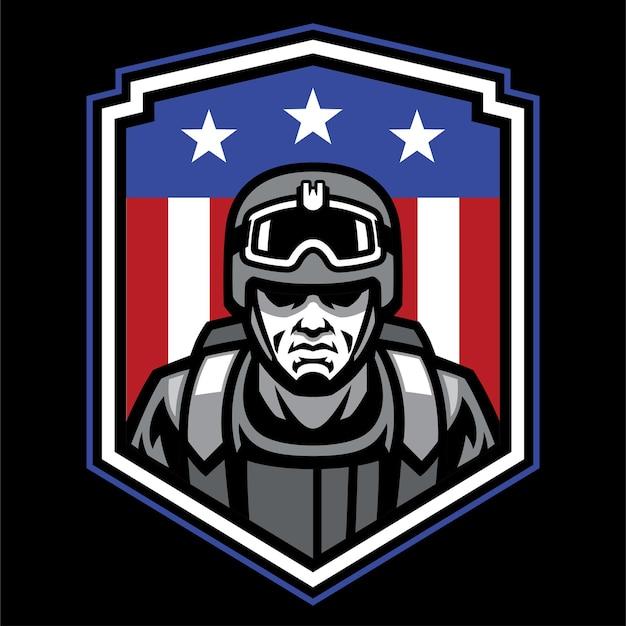 Design distintivo del soldato della mascotte