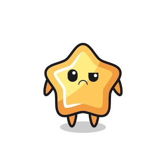 La mascotte della stella con faccia scettica, design in stile carino per maglietta, adesivo, elemento logo