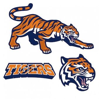 Tigre mascotte accovacciata in stile logo sport