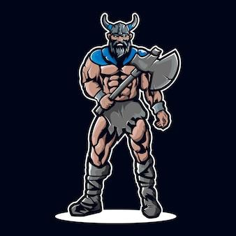 Logo mascotte vichingo