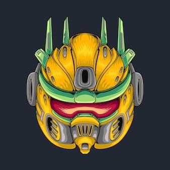 Illustrazione gialla della testa del mecha della mascotte