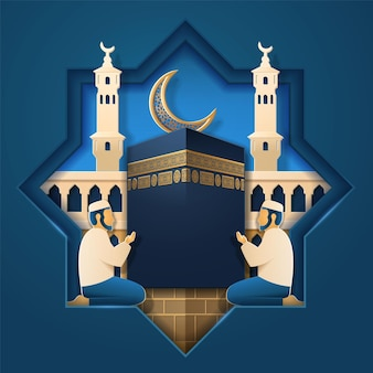 Masjid al-haram e uomo in preghiera, pietra kaaba e mezzaluna per sfondo biglietto di auguri musulmano.