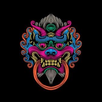 Maschera drago colorato illustrazione opere d'arte