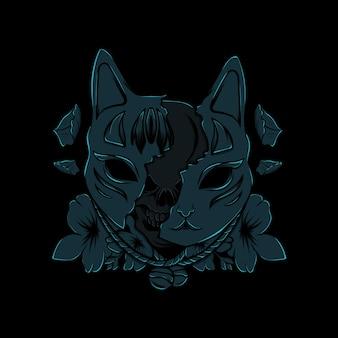 Maschera kitsune illustrazione con fiore bianco e nero