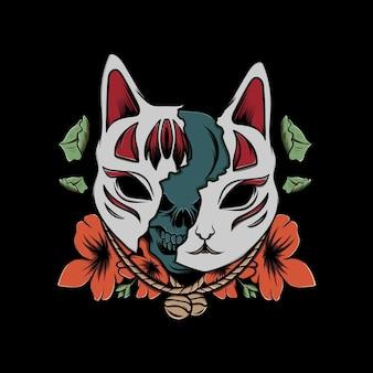 Maschera kitsune illustrazione con fiore colorato