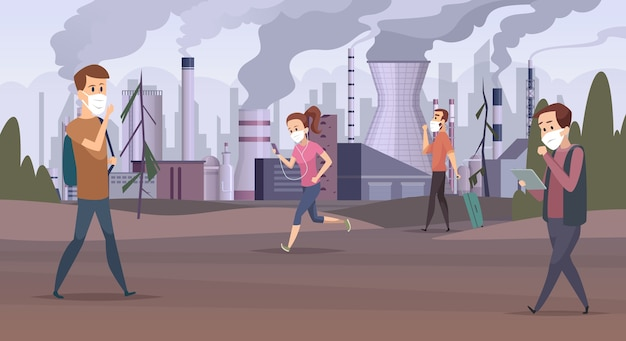 Inquinamento della maschera. smog in città fabbrica urbana persone tristi in maschera vettore cattivo ambiente. città di inquinamento dello smog di illustrazione, fumo dell'aria