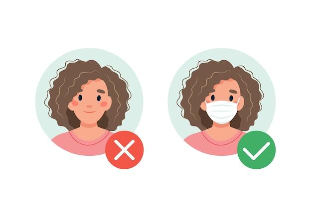 Maschera richiesta. nessuna entrata senza indossare una maschera. donna con e senza mascherina medica.