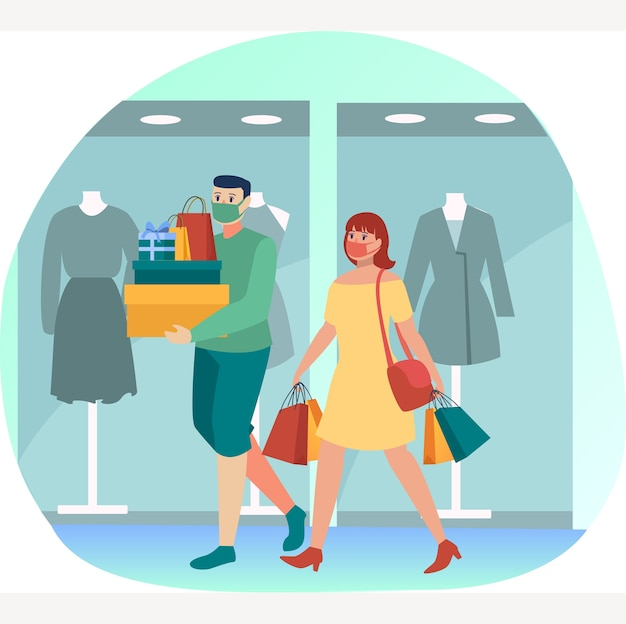 Le coppie mascherate stanno facendo compere insieme in qualche centro commerciale durante la nuova illustrazione normale