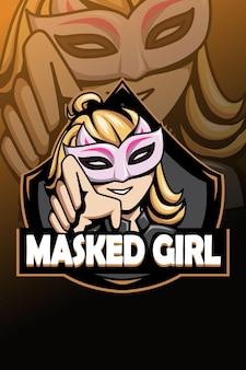 Logo della ragazza mascherata e illustrazione dello sport