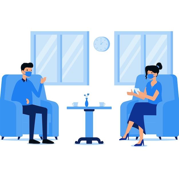 Donna mascherata hrd intervistando il suo nuovo dipendente in ufficio