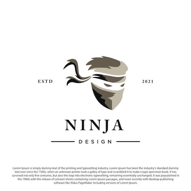 Vettore del modello del logo della spia ninja mascherato su sfondo bianco