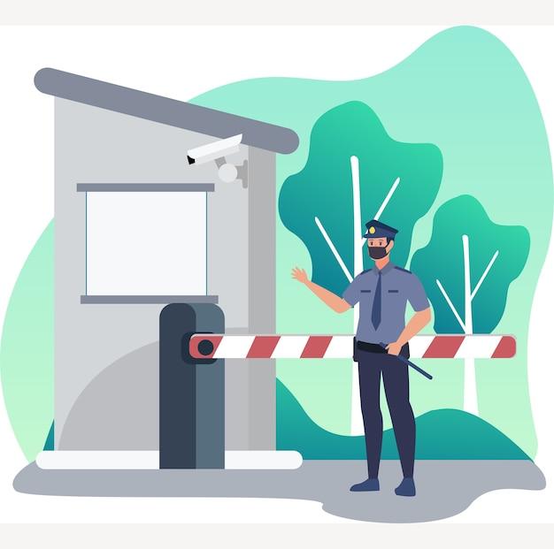 Agente di sicurezza mascherato che fa la guardia davanti al cancello automatico come suo compito