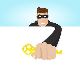 Il ladro mascherato ruba la chiave. il truffatore preleva i dati. rubare password.