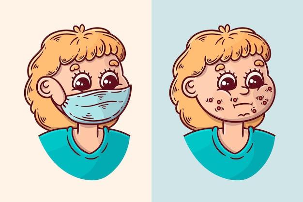 Concetto di maskne (maschera e acne)