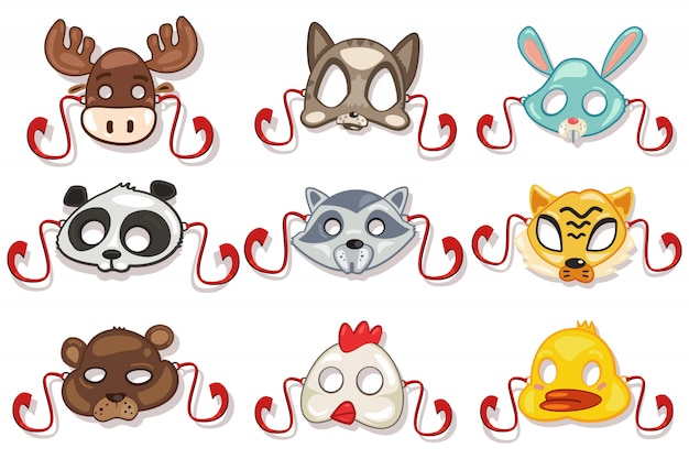 Animali di maschere impostati per la festa. isolato