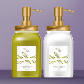 Dispenser per barattoli di vetro con tappo a vite e pompa in metallo dorato. design a tema lemon verbena.