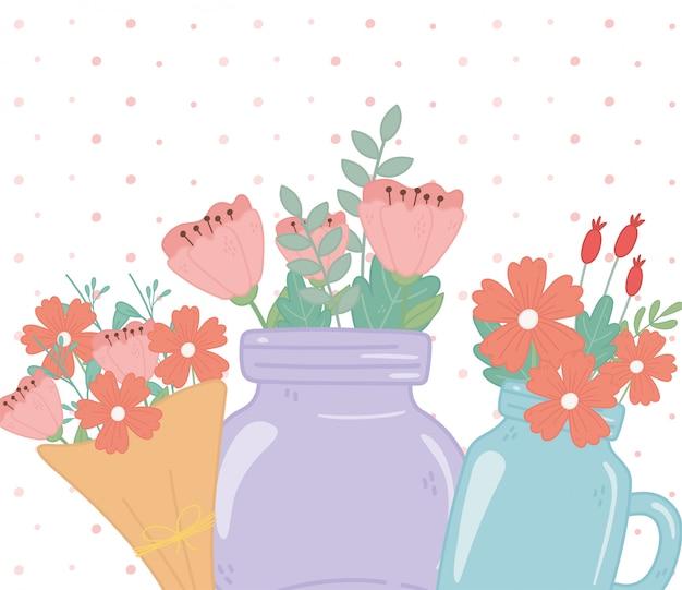 Vasi di mason e bouquet floreale con decorazioni floreali