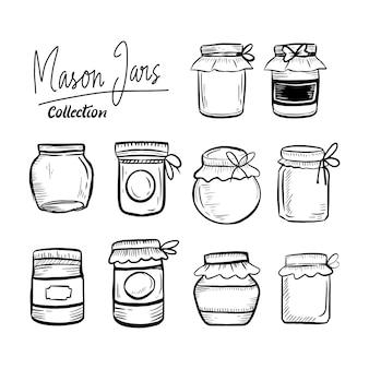 Insieme di raccolta classica disegnata a mano di vasi di mason