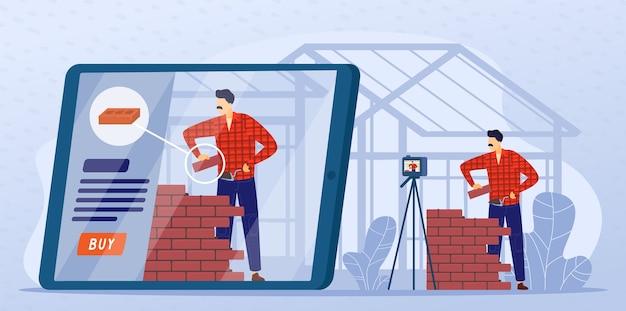 Illustrazione di lezione online di muratura in pietra.
