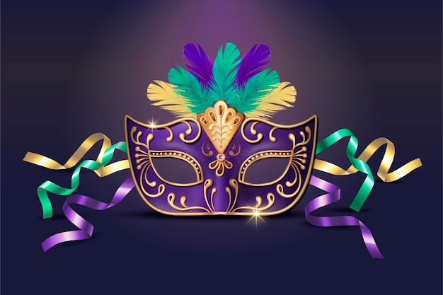 Maschera viola decorativa mascherata in stile 3d