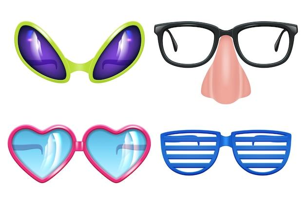 Occhiali da ballo. celebrazione oggetti divertenti diverse forme di occhiali maschera da festa collezione realistica