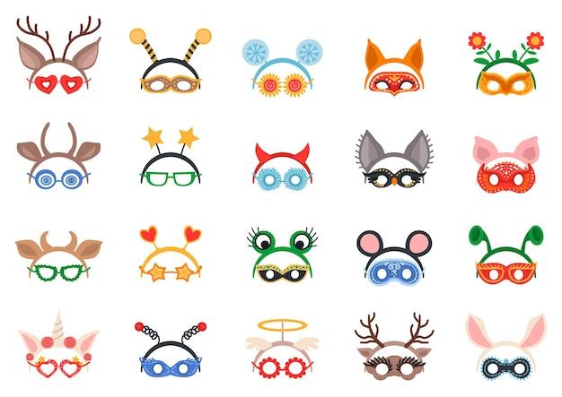 Set di decorazioni e maschere per la testa in maschera.