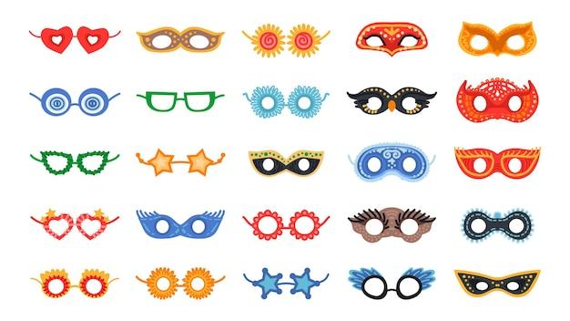 Set di maschere per travestimenti. illustrazione vettoriale. elementi della decorazione del partito del fumetto isolati su bianco. maschera per il viso per halloween o feste di natale.