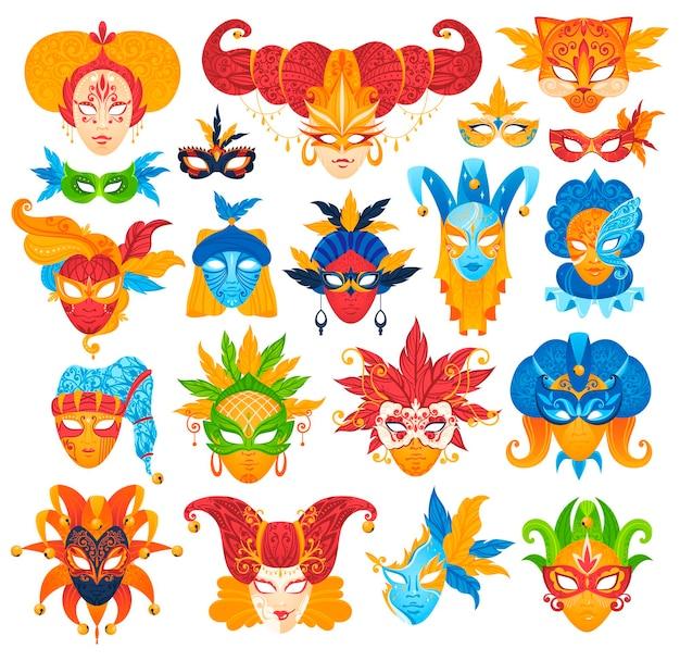 Set di maschere veneziane in maschera di illustrazione isolata.