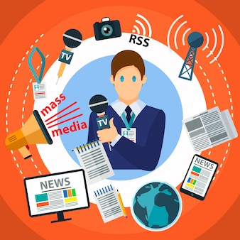 Illustrazione di concetto creativo piatto di mass media, laptop, personal computer, giornalista, microfono, rss, segnale, per poster e striscioni