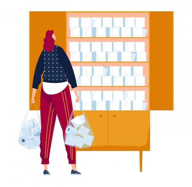 Attacco di panico di massa, le persone producono carta igienica di scorta, il personaggio femminile teme il virus