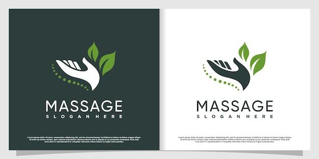 Massaggio logo design con concept creativo vettore premium