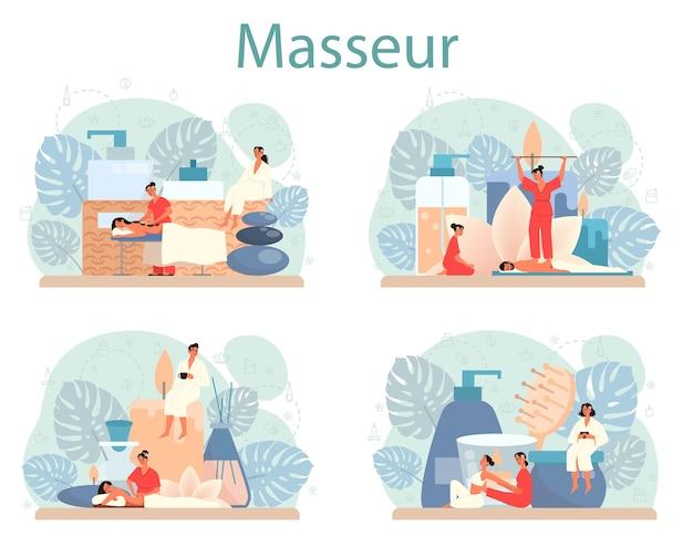 Insieme di concetto di massaggio e massaggiatore. procedura termale nel salone di bellezza. trattamento schiena e relax. persona sul tavolo e terapista. illustrazione piatta isolata