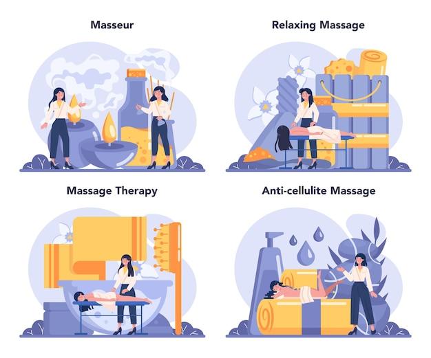 Insieme di concetto di massaggio e massaggiatore. procedura termale nel salone di bellezza.