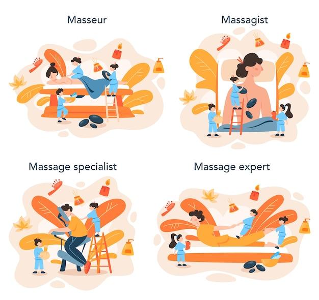 Insieme di concetto di massaggio e massaggiatore