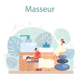 Concetto di massaggio e massaggiatore