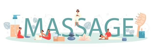 Massaggio e massaggiatore concetto di intestazione tipografica. procedura termale nel salone di bellezza. trattamento schiena e relax. persona sul tavolo e terapista. illustrazione piatta isolata