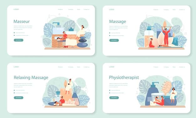 Set di banner o pagine di destinazione per massaggi e massaggiatori. procedura termale