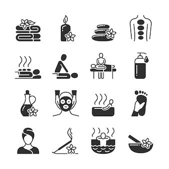 Massaggio e terapia termale, icone mediche di cura del corpo