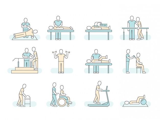 Icone mediche della linea di fisioterapia della stazione termale di terapia di massaggio.