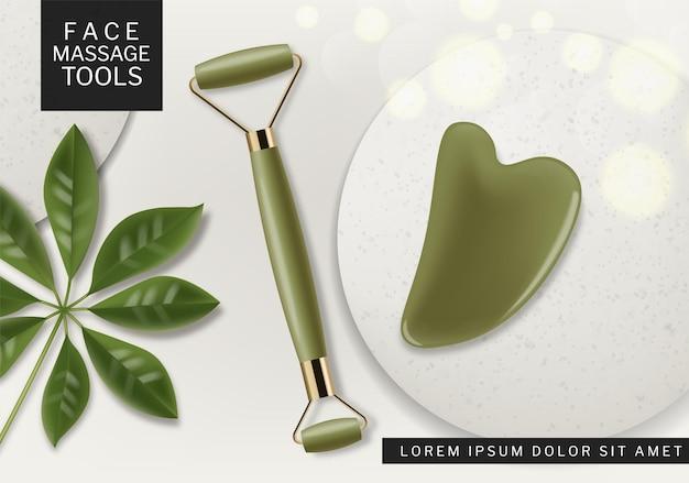 Strumento di massaggio vettore realistico. set di terapia di bellezza cosmetica posizionamento di prodotti mock up design