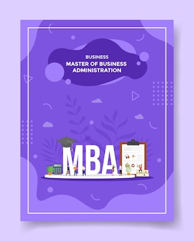 Master of business administration concetto persone intorno a parola mba cappello calcolatrice appunti grafico libro cappello per modello