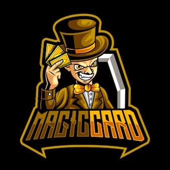 Modello di logo della mascotte della carta master