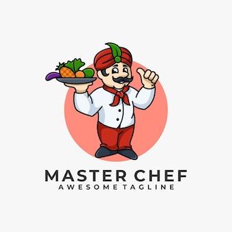 Illustrazione del fumetto di master chef logo design
