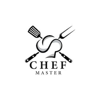 Logo master chef con cappello da chef su sfondo bianco